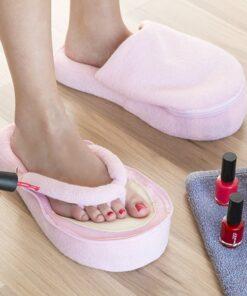 Pink Fasion Pedicureslippers med såler i memoryskum