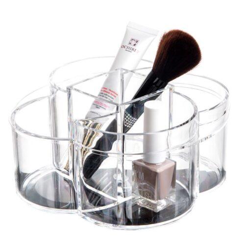 Makeup akryl organizer i rund til pensler og kosmetik