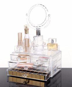 Hellolovely akryl opbevaringsboks med 4 skuffer og spejl