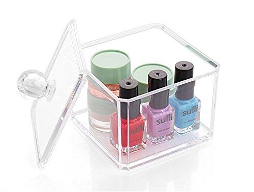 Makeup beholder med låg til neglelak og vat