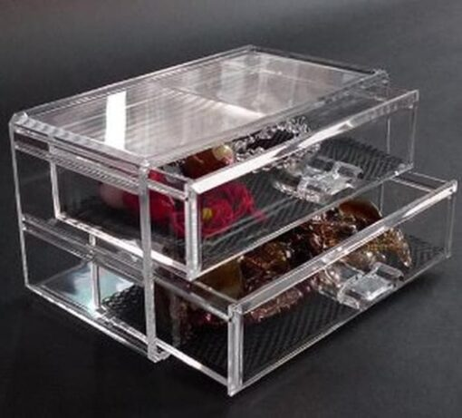 akryl makeup box og beholder med 2 skuffer.5
