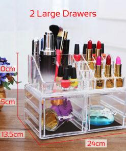 Makeup Boks i Akryl med 2 store skuffer & 16 rum