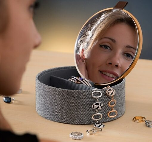 Mibox Organizer bambus smykkeskrin med spejl