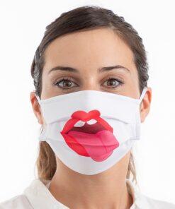 Genanveldelig hygiejnemaske med tryk - Hvid