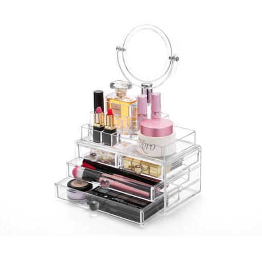 Makeup boks i Akryl med 4 skuffer og Spejl